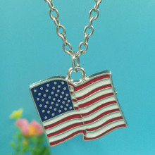 Enamel American Flag Necklace For Women Gift Charms Pendants Necklace Collar  Choker  Vintage Silver Fashion Jewelry