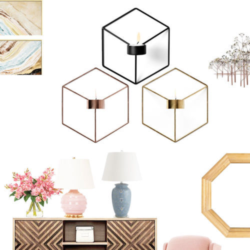 DIY Wall Mounted 3D Geometric Candlestick Tea Light Candle Holder Metal Candlestick Home Decor NEW 1