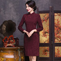 New Arrival Chinese Women's Lace Cheongsam Stylish Summer Lady Long Sleeve Qipao Dress Mujeres Vestido Plus Size