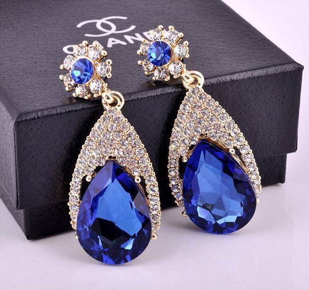 Мода Синий Цвет Большой Кристалл Урожай Серьги Для Женщин Серег Brincos Grandes Ювелирных Изделий Партии