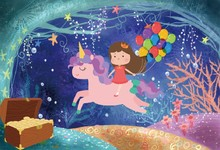 Laeacco Undersea World Unicorn Party Baby Birthday Photography Backgrounds Customized Photographic Backdrops For Photo Studio