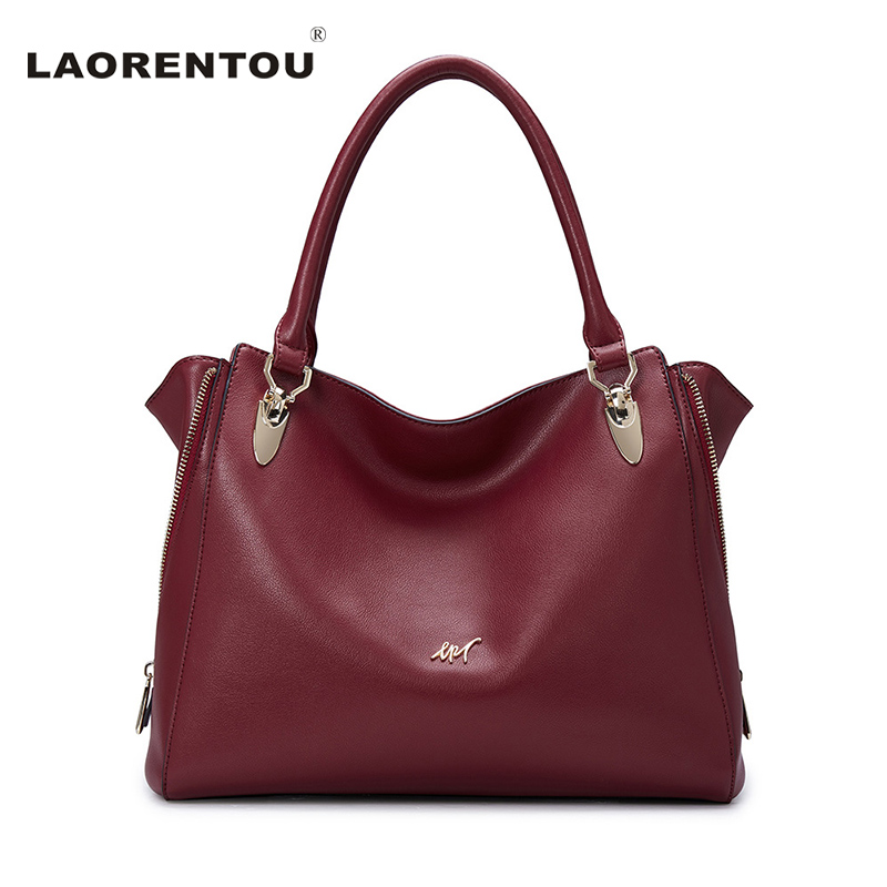 Laorentou Luxury Soft Leather Ladies Hand Bags Fashion Tote Handle Bags For Women Designer Brand Handbags High Quality Women Bag