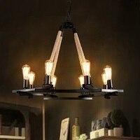 IWHD 8 головок Lampen Железный Лофт стиль Ретро лампа промышленные подвесные светильники пеньковая веревка светодиодный подвесной светильник в