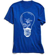 Men T-shirt Save Bulb Tree O-Neck T Shirt Ostern Day Tops & Tees Short Sleeve New Arrival 100% Cotton TShirt Geek Blue Camisa