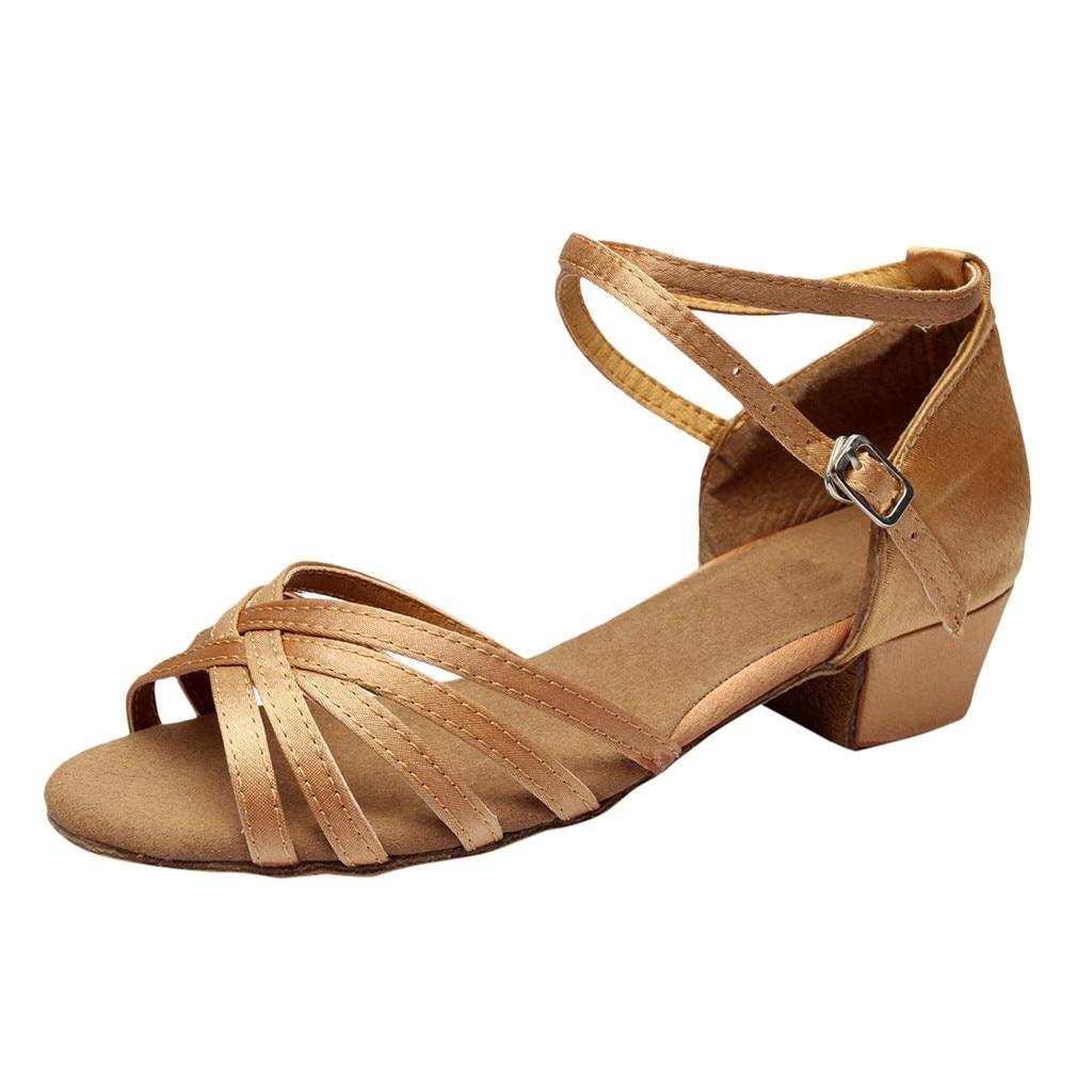 SAGACE Sandal Buckle-Strap Square Heel Women Salsa Outdoor Casual Latin Rumba Prom-Ballroom