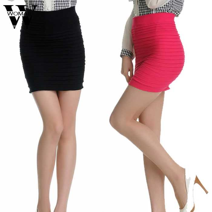 77468da4a05c Faldas de mujer 1 Pza de verano para mujer falda de trabajo de moda delgada  elástica plisada alta cintura paquete cadera Falda corta 2019 jan24