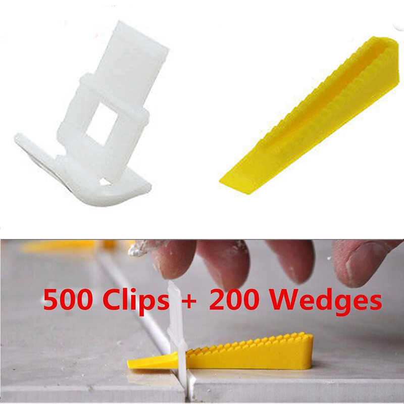 700 Tile Leveling System - 500 Clips + 200 Wedges - Tile Leveler Spacers Lippage For Tiling Tools new ceramic wall floor tile leveling plier spacers lippage leveling system tool fit wedges and clips