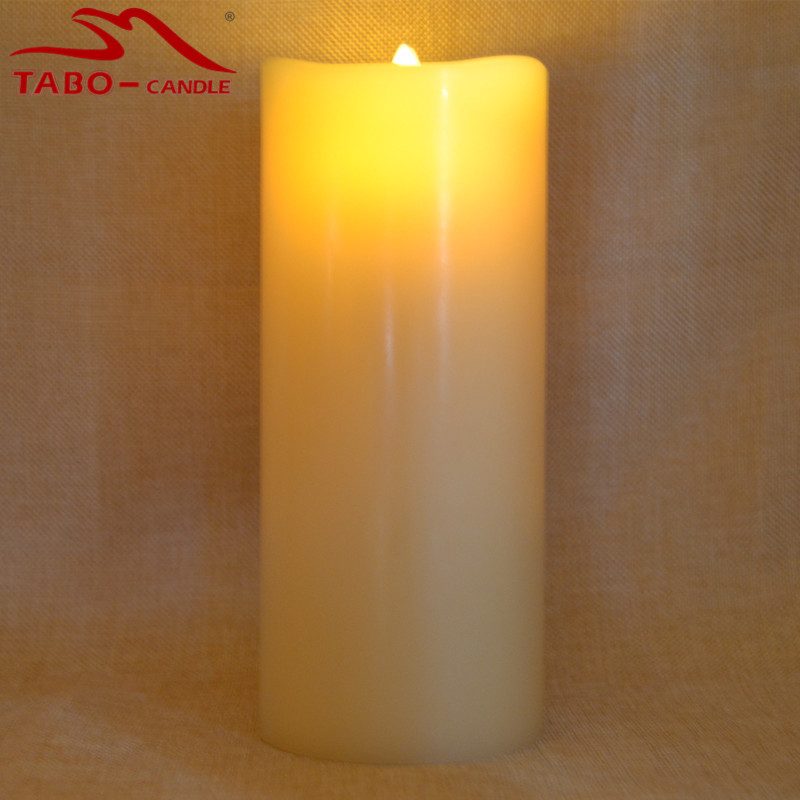 flameless incredibly realistic real wax led moving wick flame candle with timer battery powered ivory color - Flameless Candles With Timer