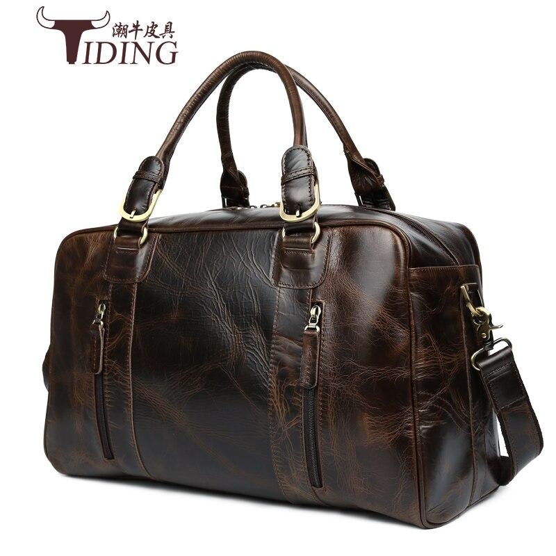 Homme voyage sacs en cuir de vache 2017 nouveau européenne homme d'affaires polyvalent occasionnel grand véritable en cuir voyage duffle sacs à main mâle sac