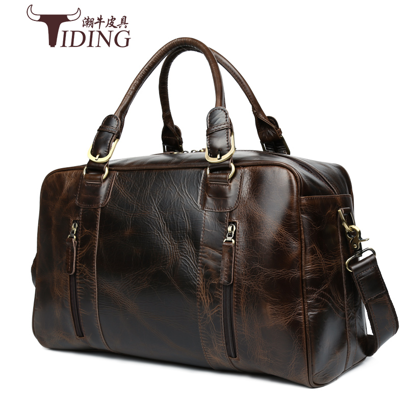 Man Travel Bags Cow Leather 2017 New European Man Business Versatile Casual Big Genuine Leather Travel Duffle Handbags Male Bag