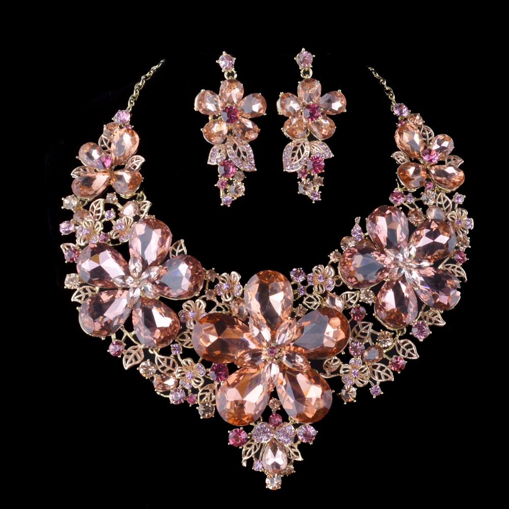 light peach color statement necklace sets For bridal wedding jewelry Women party jewelry sets dress accessories Christmas Gift