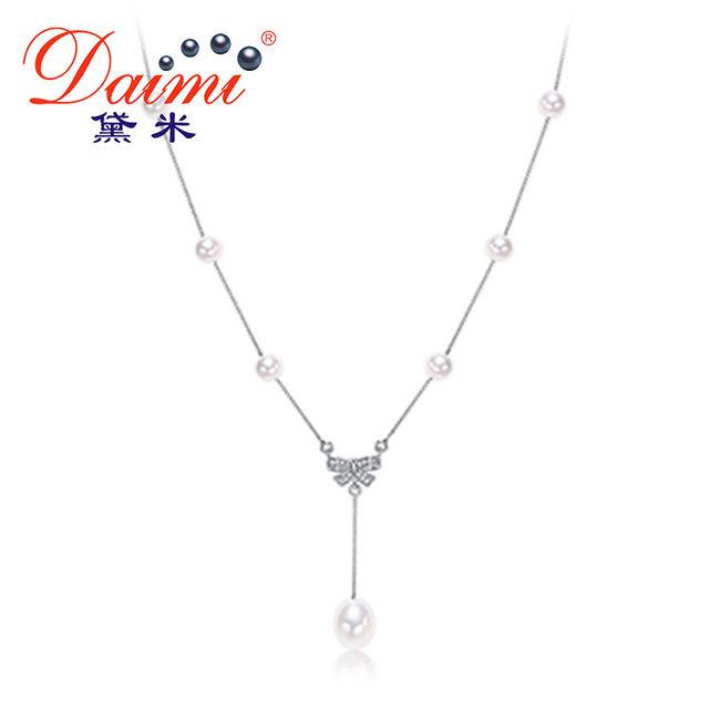 Daimi 2017 nova bowknot pingente de colar de prata esterlina 925 pérolas de água doce pingente de colar de alta qualidade da marca de jóias