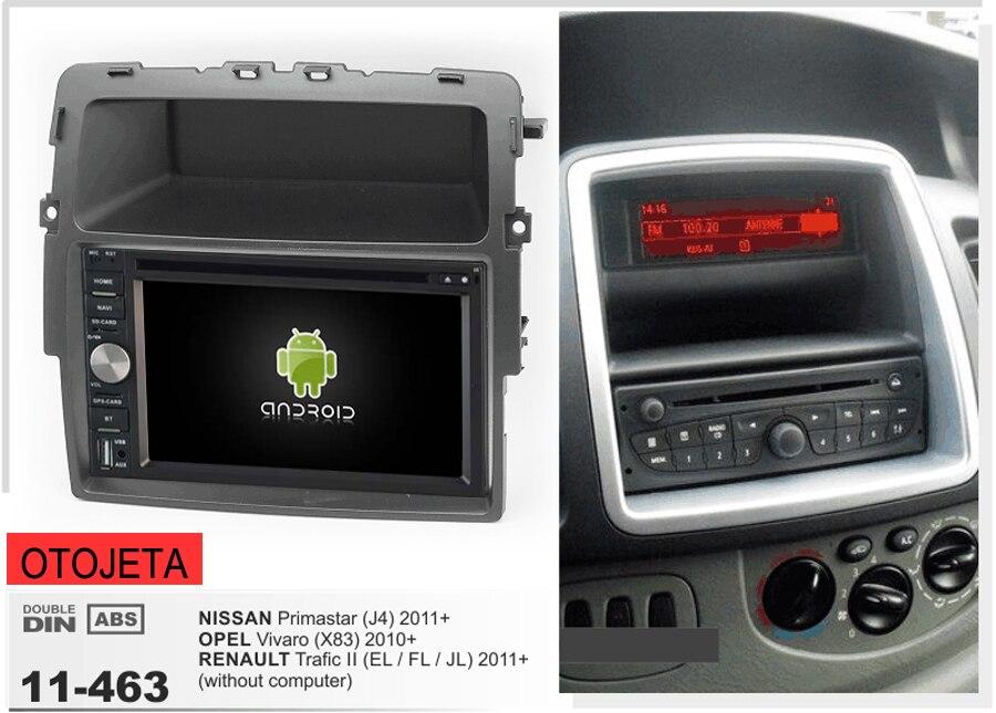 Cadre + android 6.0 lecteur dvd de voiture pour nissan primastar j4 opel vivaro renault trafic 2011 + autoradio magnétophone unités de tête