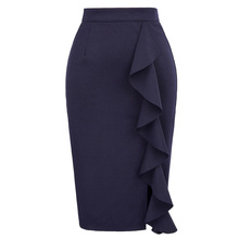 Pencil Skirts Womens 2018 New Sexy Ruffles Skirt Wear to Business Work Office High Waist Casual Bodycon Slim Midi Skirts Summer