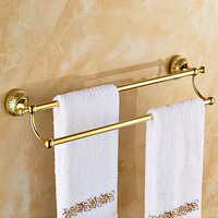 Towel Rack Double Hanging Pendant European Antique Gold Plated Bathroom Towel Bar 2 Layers Wall Mounted Bathroom Accessories