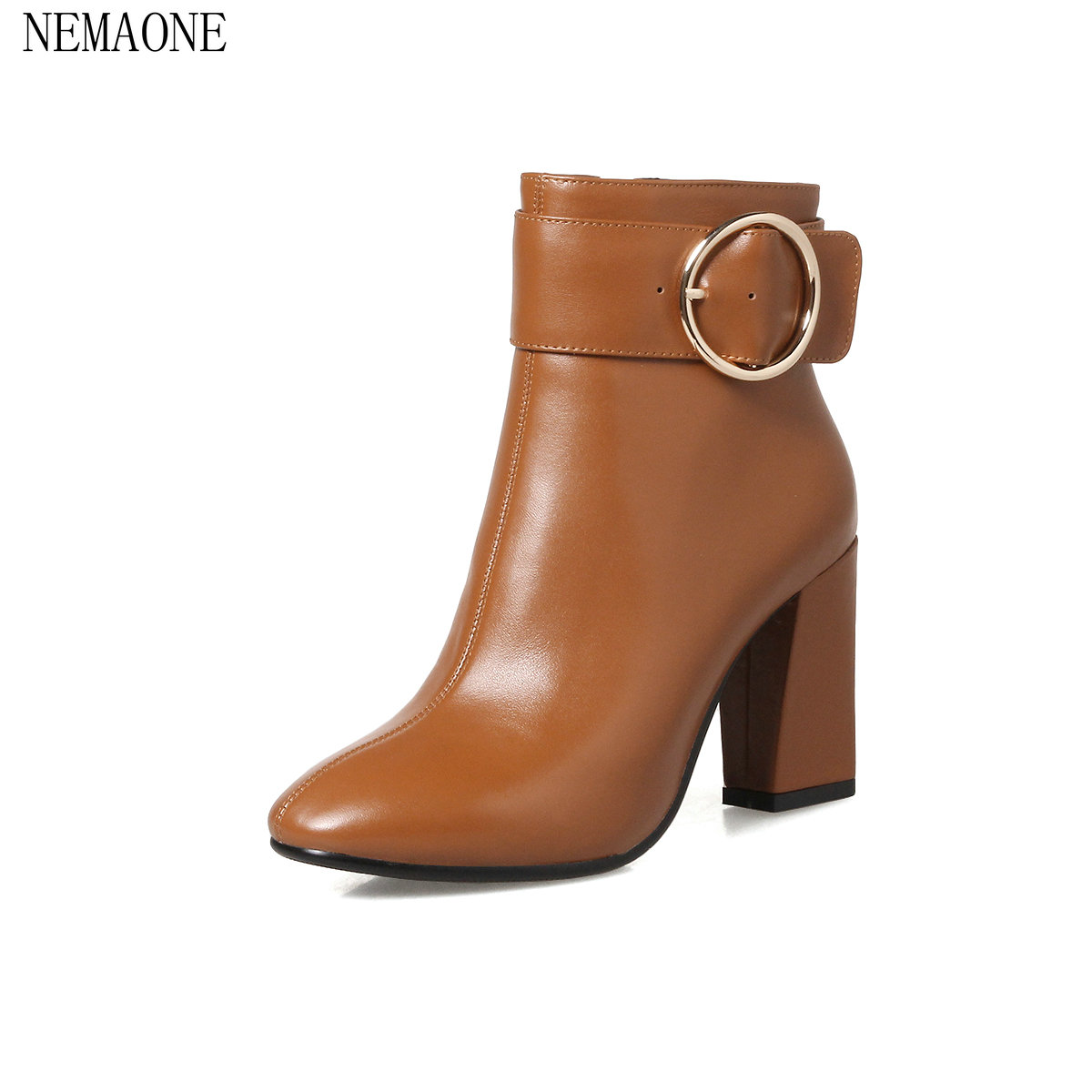NEMAONE Women Ankle Boots Square High Heel Pointed Toe Zipper Fashion All Match Spring and Autumn Ladies Boots Size 34-43 nemaone 2018 women ankle boots square high heel pointed toe zipper fashion all match spring and autumn ladies boots