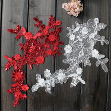 10Pcs Fancy Lace Trim Wedding Veil Patch Flower Sequins Mesh Applique Bridal Embroidery Ivory White Red Appliques