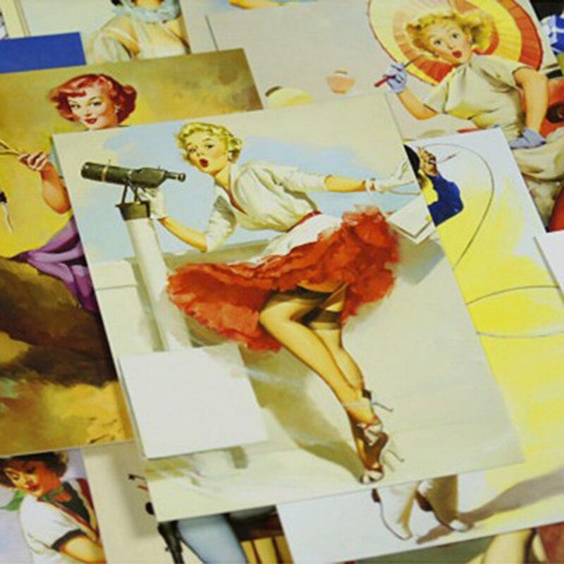 30 pcs/ lot New Vintage Girl Elvgren Marilyn Monroe Van Gogh christmas greeting cards postcards set/Gift Card/Post card 8 design 3sets lot retro time literature and art tape christmas greeting cards postcards set gift card post card