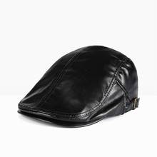 Winter PU Caps Leather Windproof Man Beret Cap For Male Seni