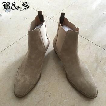 Black& Street Handmade Beige West Suede New Chelsea Boots Slip On Pointed Toe Men Wedge luxury Denim Shoes