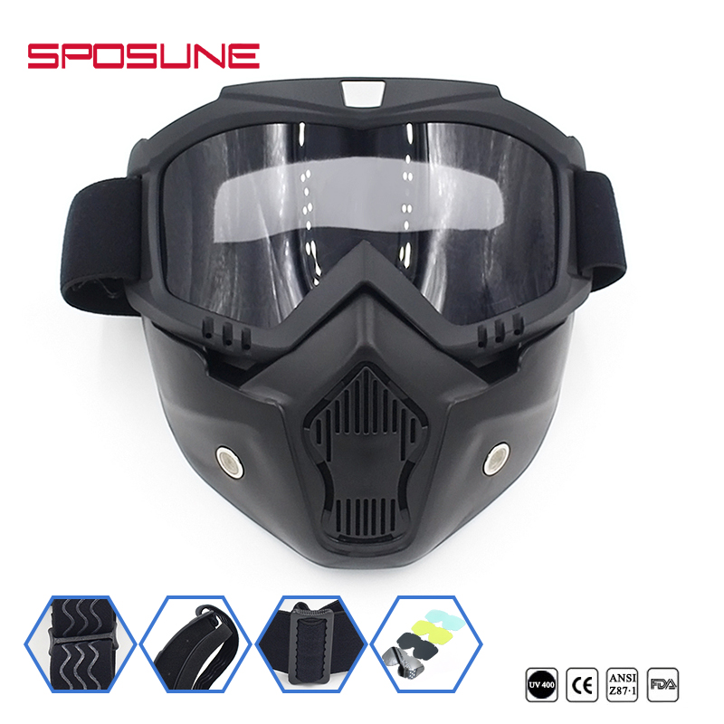 SPOSUNE Dirt Bike Motorcycle Riding Goggles Cycling Face Mask Motocross Bicycle Airsoft Off-Road Vehicle Ski Detachable Goggle