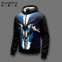 New Winter Jackets and Coats Gundam seed hoodie Game Hooded Thick Zipper Men cardigan Sweatshirts 3D