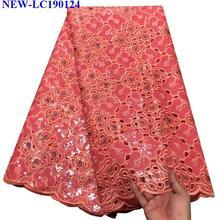 Высокое качество Французский тюль лента с кружевной вышивкой пайетки кружевная ткань Африканская Тюль Кружевная Ткань 5 ярдов для свадебного платья HA-003