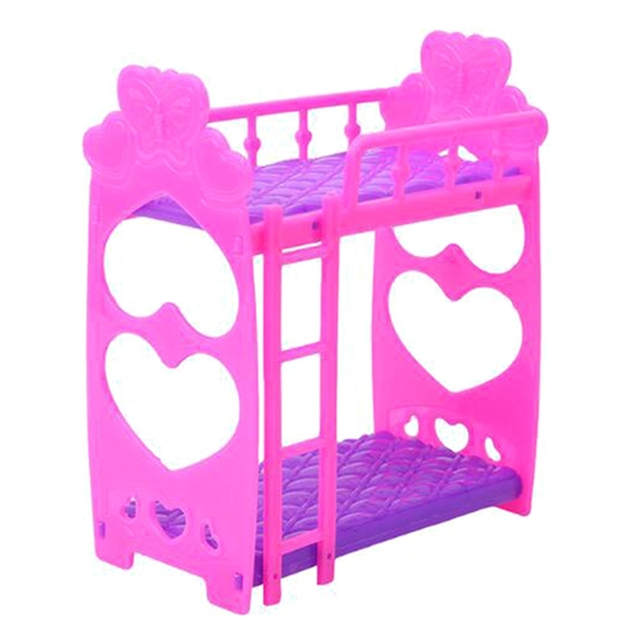 Baby Girls Gift Mini House Toy Doll Furniture For American Doll Double Layer Bed Assembly For Doll Accessories- Random Color