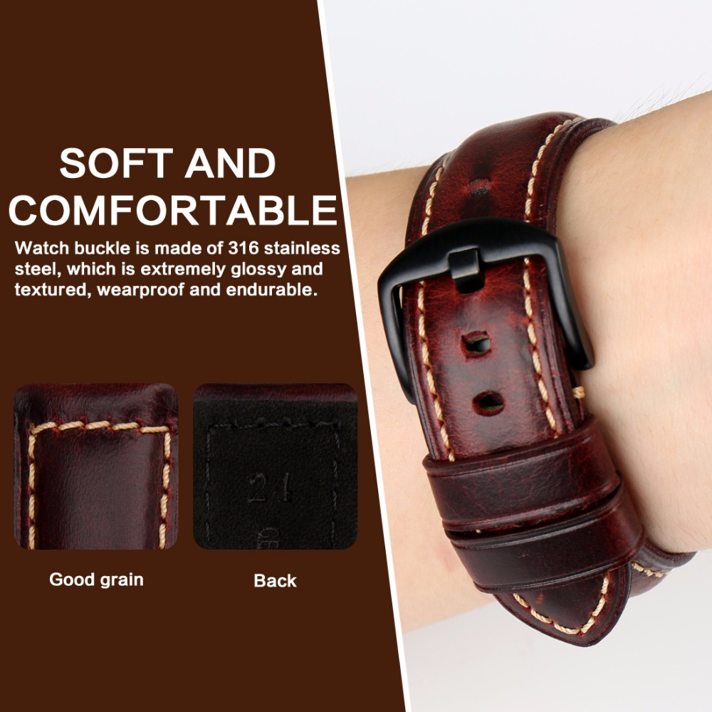 Image 4 - MAIKES Watch accessories fashion red watchband 20mm 22mm 24mm 26mm leather watch strap black buckle watch band for Paneraiwatch bandred watchbandwatchband 22mm -