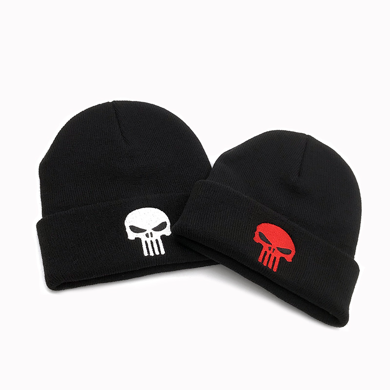 Embroidery Black Skulls Winter Warm The Punisher Cool   Beanie   Men Skeleton Justiceiro Castigador Knitted Hat Adult Teenagers Boy
