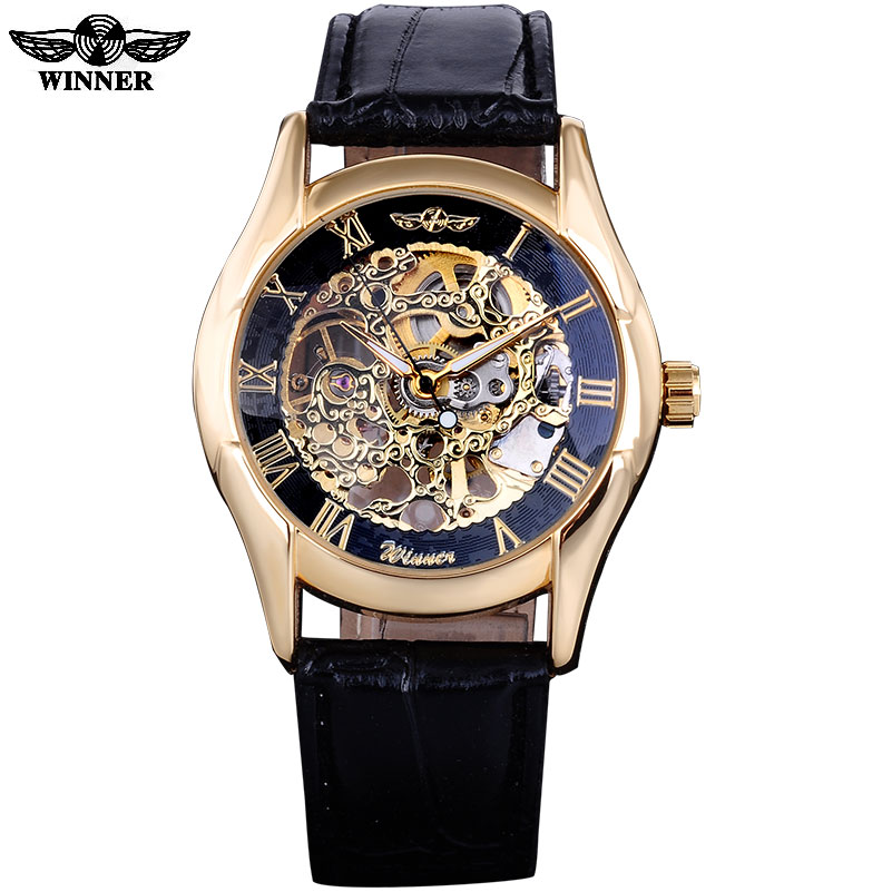 2016 WINNER BRAND MEN MALE RUSSIAN GOLDEN BLACK SKELETON HAND WIND MECHANICAL MILITARY FASHION CASUAL WATCHES  LEATHER BAND winner arrival glass men skeleton watches elegant simple pierced charm mechanical hand wind business and fashion style