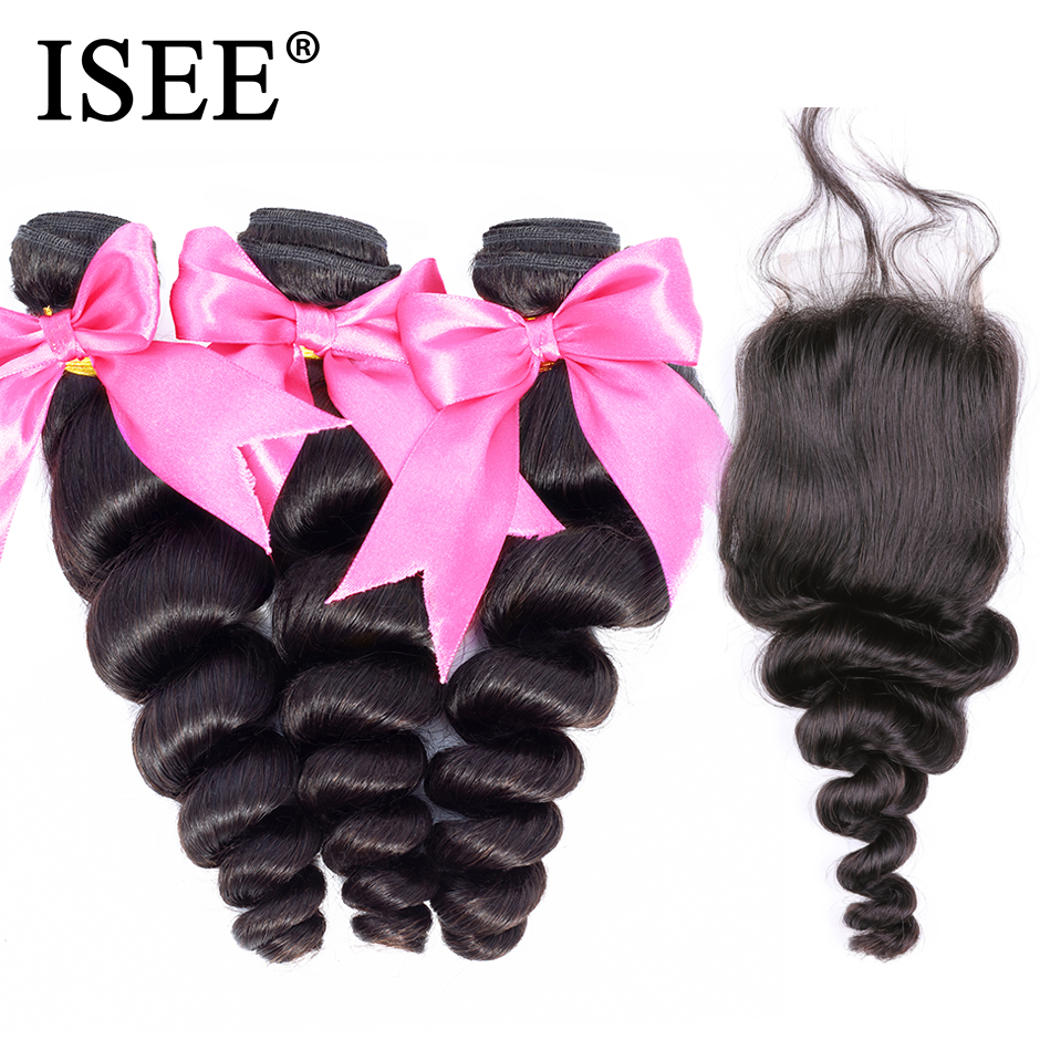 ISEE HAIR 3 Bundles Loose Wave Bundles With Closure Free Part Remy Human Hair Bundles With Closure Malaysian Hair  With Closure