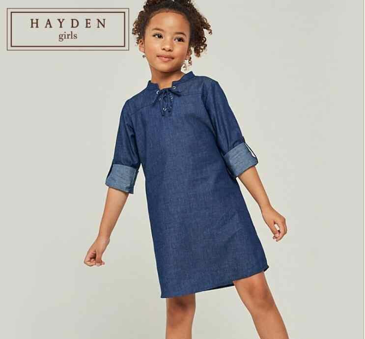 6aa78f8c1 Girl Dresses Denim Cotton Teenager Fashion Dress Junior Autumn Long sleeve Dress  2019 Children Clothing