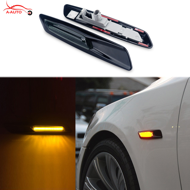 2 x Car Styling Trim LED Fender Side Marker Light Turn Signal Lamp For BMW E60 E82 E87 E88 E90 E91 E92 E93