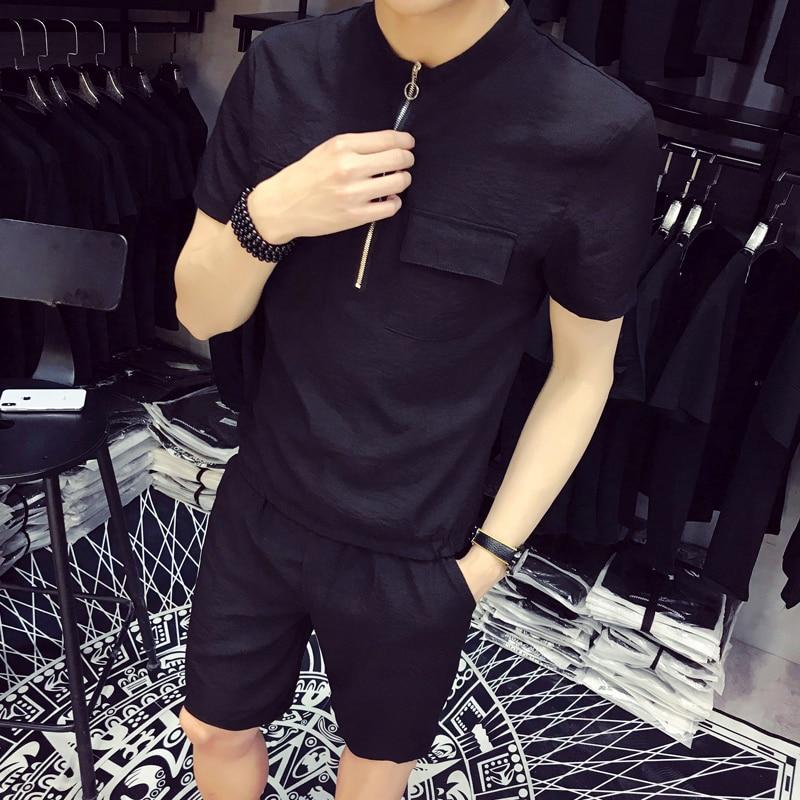 DEKUSI Short Sleeve T shirt sets men Summer Wear New Pattern pants suit Pure color Pocke ...