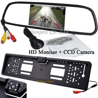 YeHeng 5 inch LCD 800*480 Mirror Monitor For EU Car License rearview camera Plate Frame parking camera night vision with 4 LED