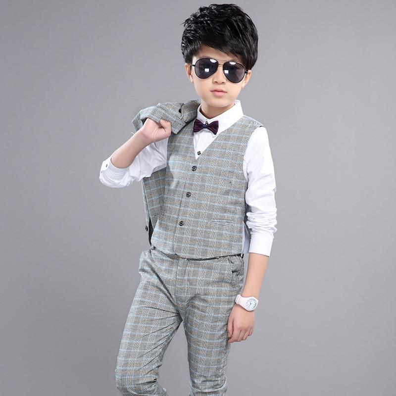 ФОТО 3 pcs sets boys clothing sets gentleman spring autumn 2017 teenage little boys suits grey plaid coats vest pants boy clothes set