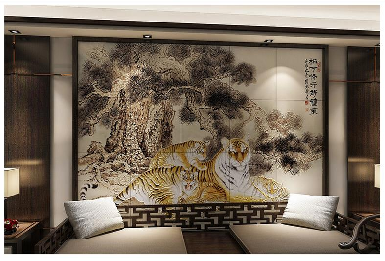 High End Custom 3d Photo Wallpaper 3d Wall Murals Wallpaper Chinese  Painting Tiger Map Home And