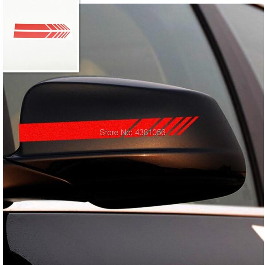Red Sticker Car Rear View Mirror Decal For Mercedes-Benz BMW Audi Subaru Lexus