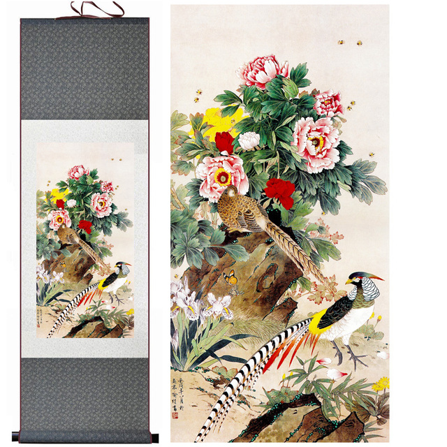 Home Decor Silk Traditional Chinese Peony Bee Pheasant Birds Ink