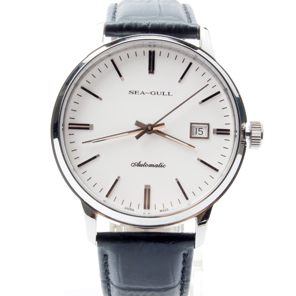 Seagull Genuine Leather Band PVD With Stainless Steel 3 Hands Exhibition Back Automatic Men's Watch Sea-gull D101