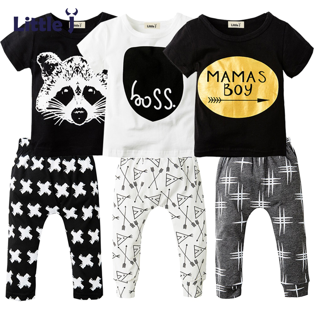 2Pcs Newborn Baby Boys Clothes Set Short Sleeve T-shirt + Long Pants Cotton Sport Clothing Suit Cartoon Toddler Boys Clothing summer 2017 newborn baby boy clothes short sleeve cotton t shirt tops geometric pant 2pcs outfit toddler baby girl clothing set