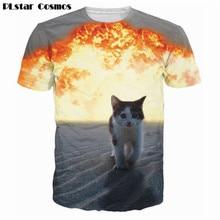 PLstar Cosmos Harajuku tops Space Cat/ Cat Explosion T-Shirt astronaut kitty galaxy 3d t shirt Summer Fashion tees women men