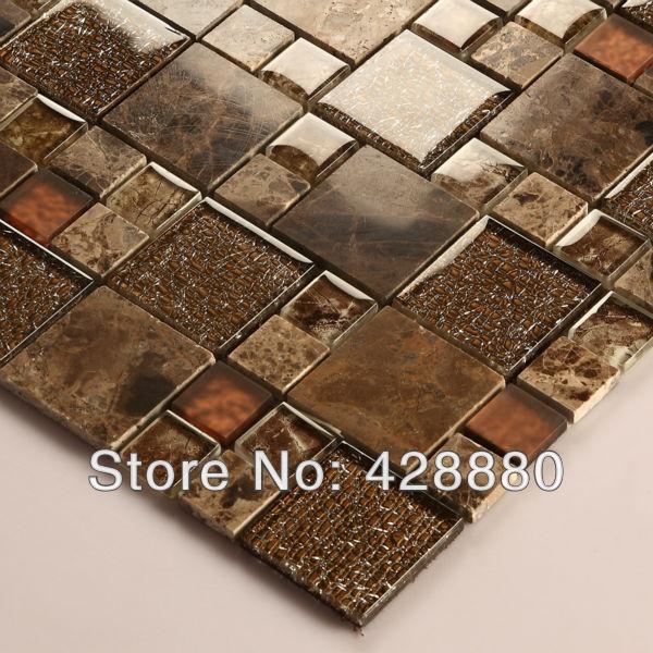 Glass Stone Mosaic Tile sheets Crystal Backsplash ...