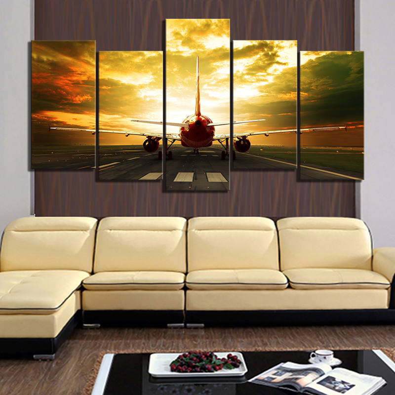 5 Piece HD Military Airplane Pictures Paintings Aircraft Plane Poster Canvas Paintings Landscape Wall Art for Home Decor 1