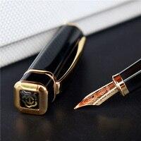Герой 979 квадратная крышка металлическая авторучка золотые пластины зажим иридий тонкий наконечник 0,5 мм модная ручка для письма чернила дл...