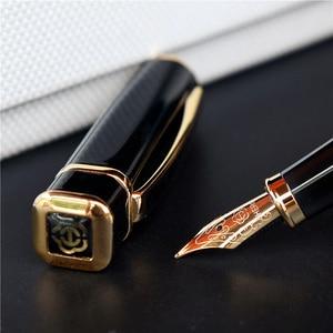 Image 1 - Hero 979 Square Cap Metal Fountain Pen Golden Plates Clip Iridium Fine Nib 0.5mm Fashion Writing Ink Pen for Office Business