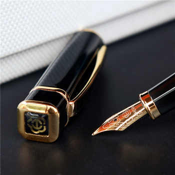 Hero 979 Square Cap Metal Fountain Pen Golden Plates Clip Iridium Fine Nib 0.5mm Fashion Writing Ink Pen for Office Business - DISCOUNT ITEM  9 OFF Education & Office Supplies