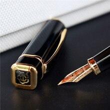 Hero stylo de fontaine carrée en métal 979mm, plaques dorées, Clip Iridium Fine, à la mode, pour le bureau et les affaires