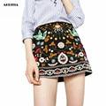 2016 Женщины Европейский Стиль Тяжелая Вышивка-Линии Юбки Леди Мода Bodycon Saias Этнической Мини-юбка